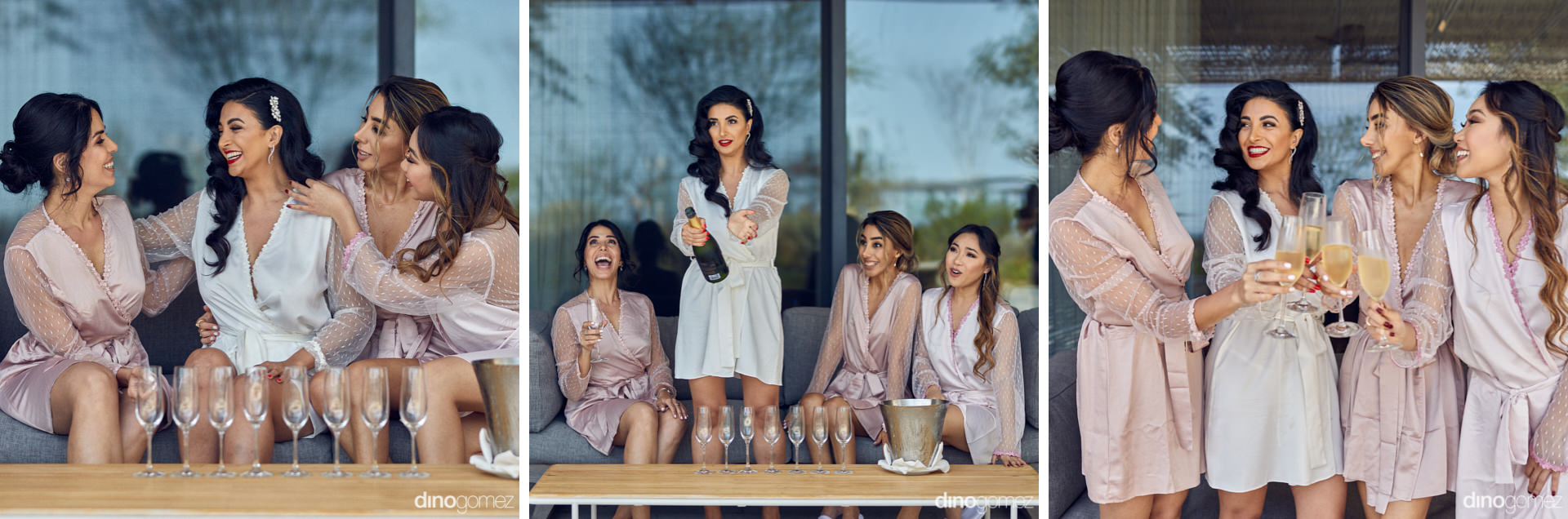 Persian Bride Toasting With Her Bridesmaids On Her Cabo Wedding