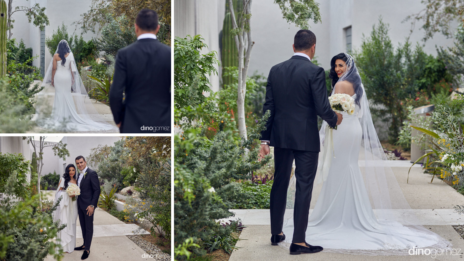 Persian Cabo Wedding First Look - Groom Bringing Her Flowers
