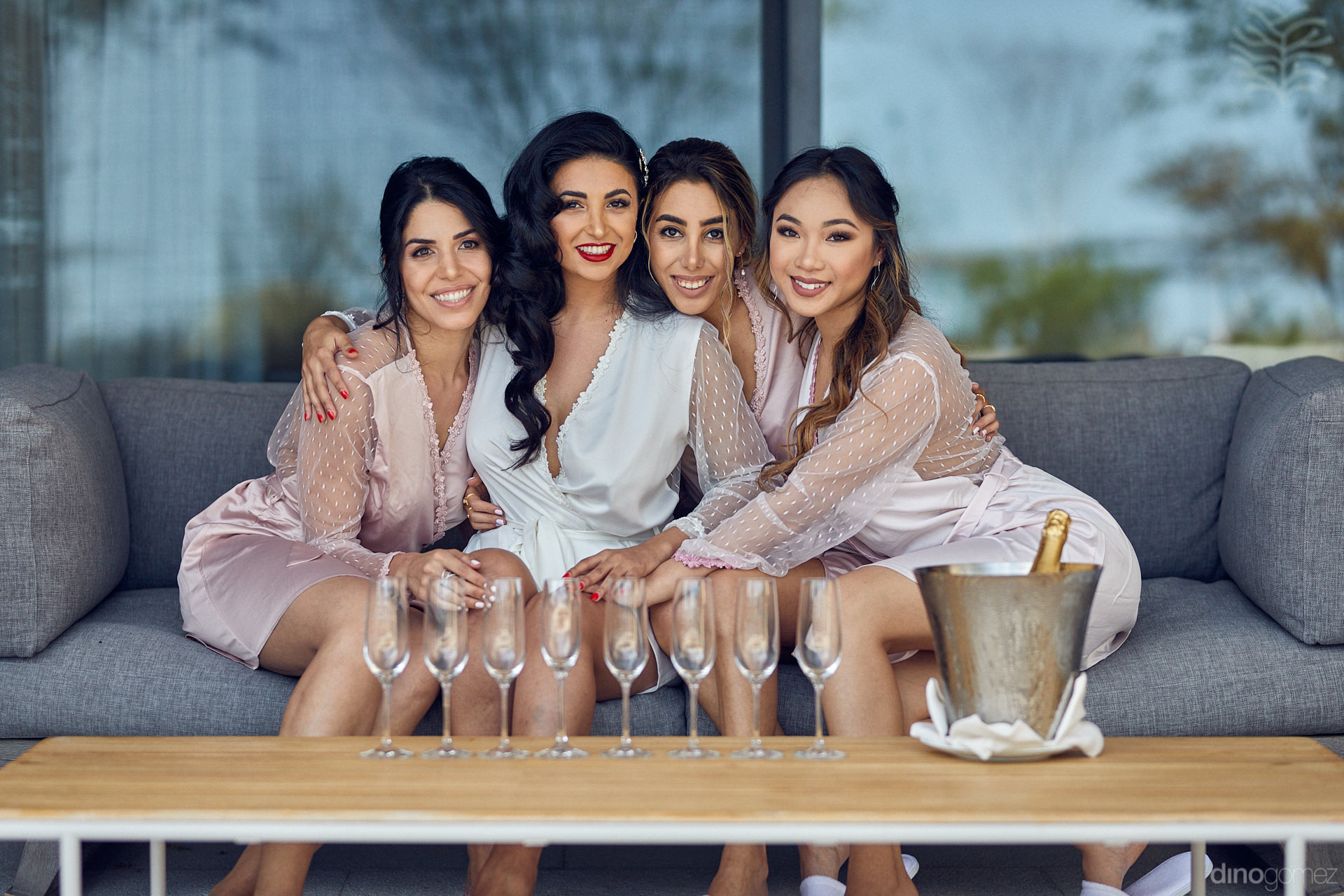 Persian Wedding Bridesmaids Ready To Toast With Champagne