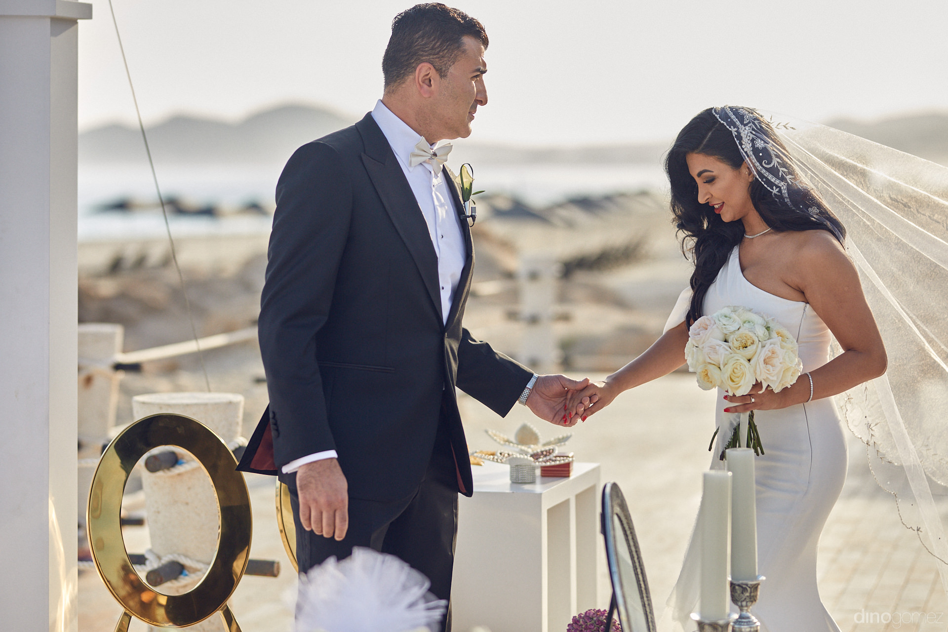 Persian Wedding Ceremony Bride And Groom On The Beach