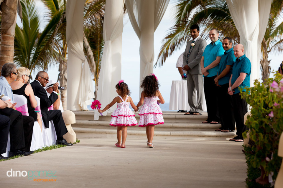 Flower Girls In Polka Dot White And Pink Dress