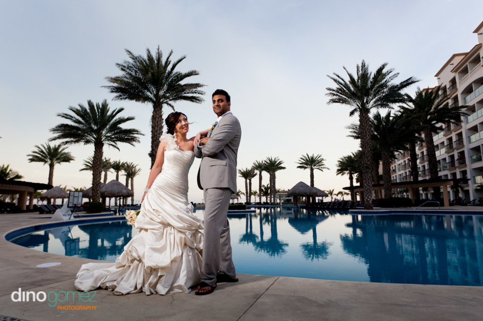 Bride And Groom Poolside Shot By Wedding Photographer Dino Gomez