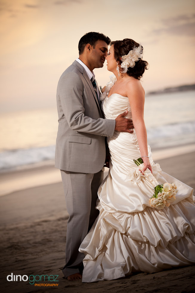 Beautiful Beach Wedding Couple On The Sand