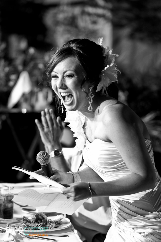 Laughing Bride Giving A Speech At Her Wedding