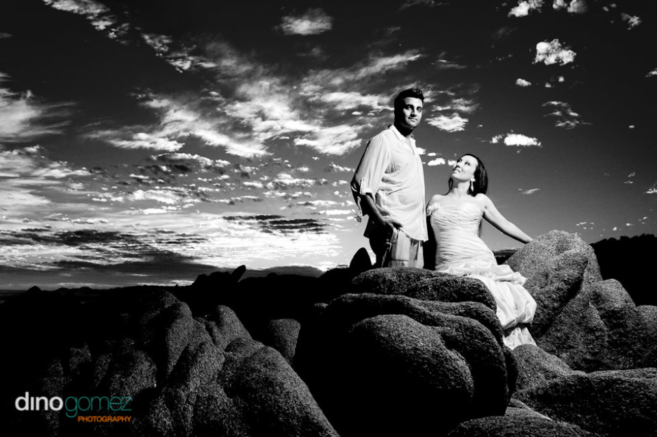 Newlywed bliss in black and white with the bride looking at her loving husband