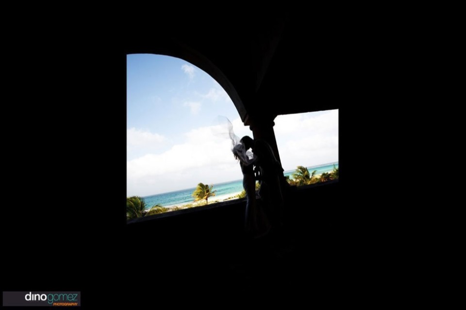 Couple kissing silhouette as captured by photographers in Puerto Vallarta