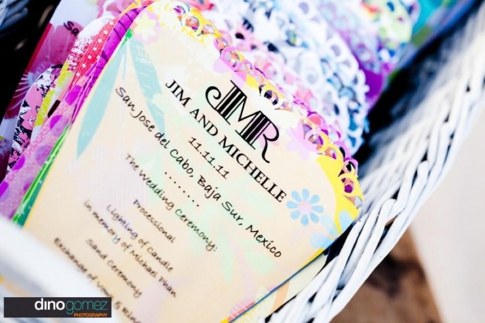 Colourful wedding ceremony program