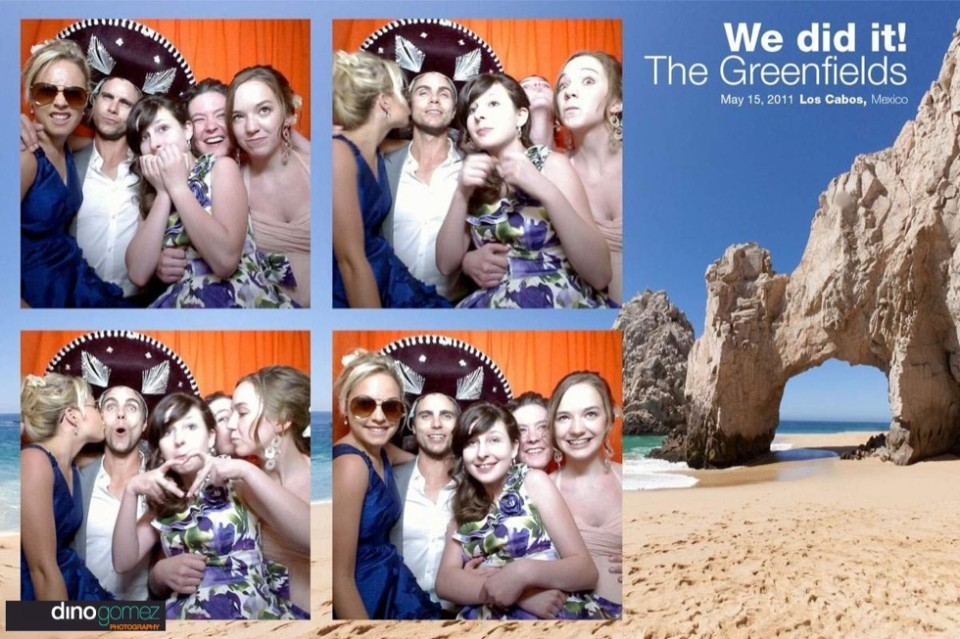 Fun photo booth shots of a man in sombrero surrounded by beautiful women