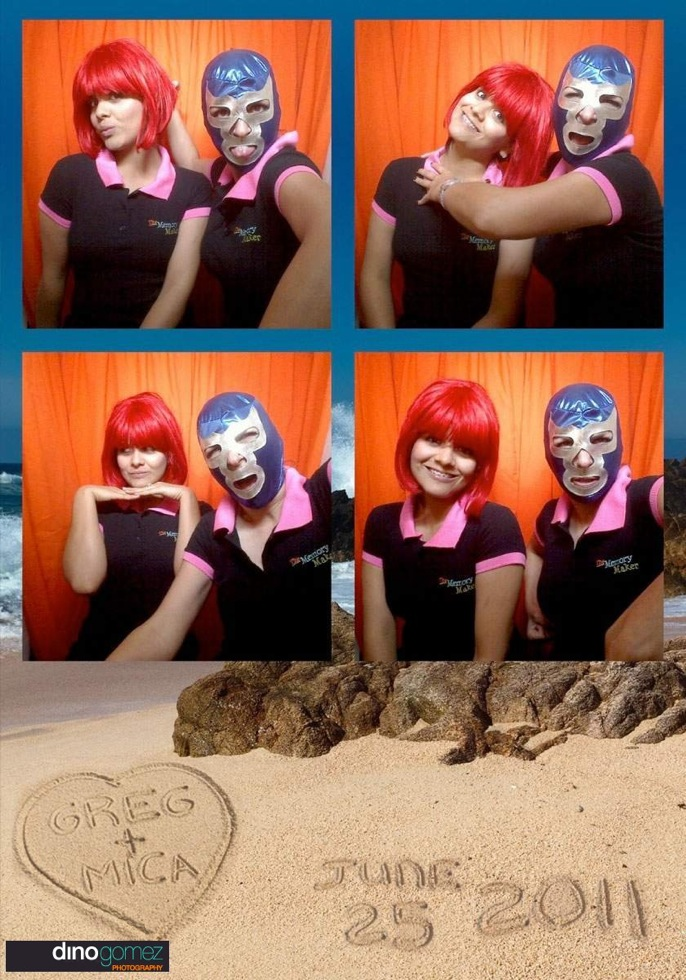 Hilariously superhero photo booth snapshot collage with a beach background