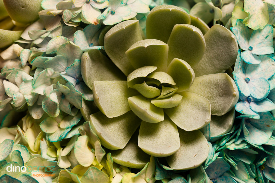 Greenish blue wedding flowers closeup shot