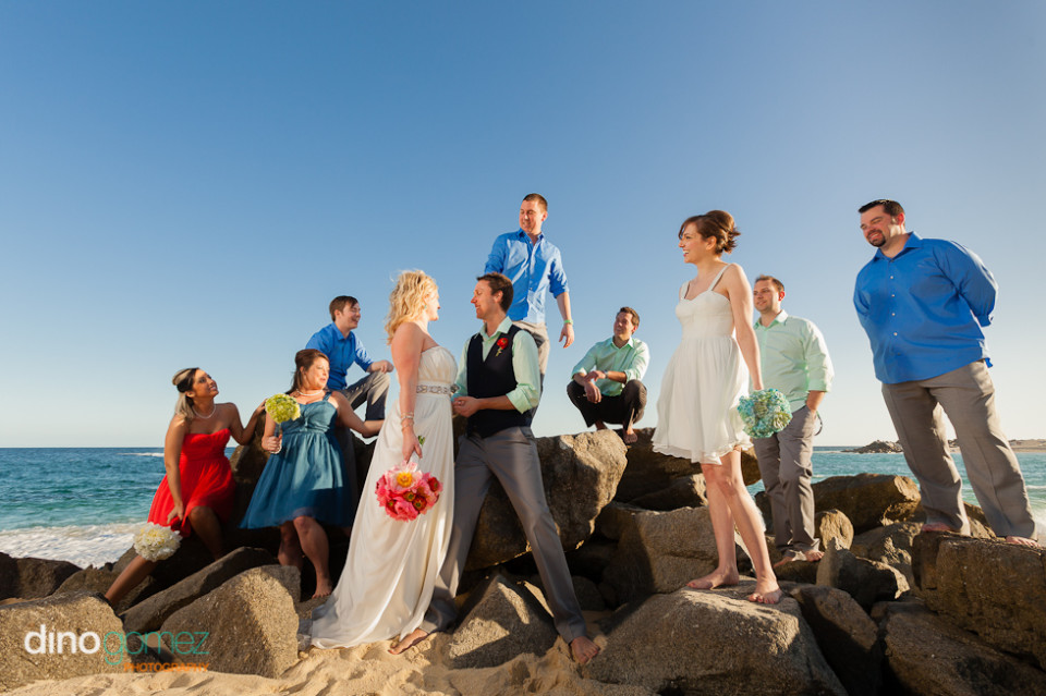 Bare foot bridal party on the beach in Mexico