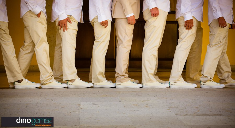 Casual groomsmen in khaki pants